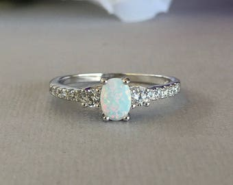 Oval White Fire Opal Simulated Diamond Stones Sterling Silver Engagement Promise Ring, Women's White Fire Opal Ring