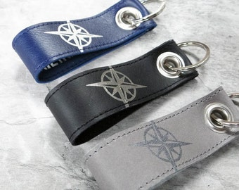 Compass Keychain leather with compose