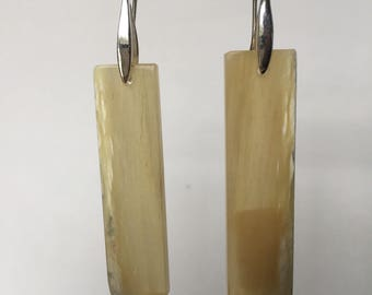Authentic Bighorn Sheep Horn Earrings with Sterling Silver Ear Wire
