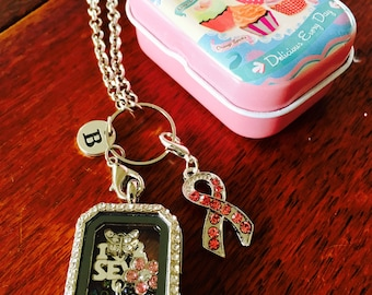 Breast Cancer Awareness Sewing Charm Floating Locket and Chain