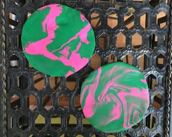 Small Pink and Green Circle Coasters Set of Two