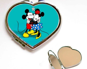 Disney Mickey and Minnie Mouse Hug Square or Heart Shape Compact Mirror, Handbag mirror, Accessories, Make Up Mirror, Gift, Present