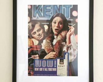 Framed 1979 Kent Cigarette Ad - Retro Advertising Framed Art