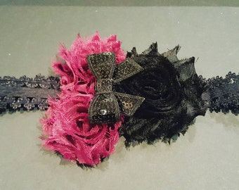 Magenta and black shabby flowers with a sequin bow headband