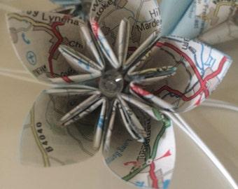 20 Origami, kusudama paper flower home Decor, office decor fairy lights travel themed paper