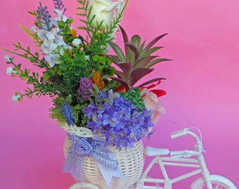BIKE flowered HAND MADE / artificial flowers / gift / unique / decoration / cute / plants