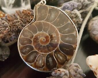 Fossil Ammonite Silver Pendant