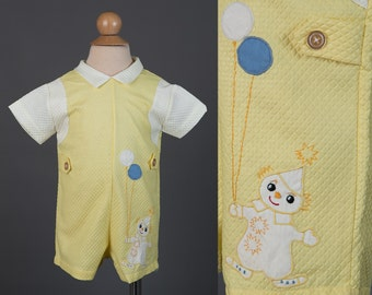 Vintage 1960s baby romper | boy's quilted clown outfit