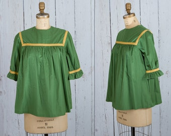 vintage 1950s maternity blouse | green top