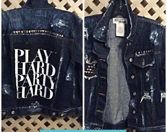 SOLD Homemade studded distressed jeans jacket