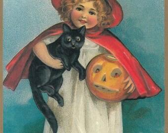 Vintage Halloween Postcard Reproduction - A Jolly Halloween, Ellen Clapsaddle Art, Girl Witch, Black Cat, Jack-o-Lantern