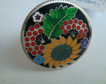 Petrykiv Rozpys ukrainian hand-made silver ring with enamel