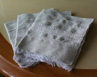 "Natural softened linen napkins- size 15.5""x14""- historical table napkin- table serving- rustic weddings- eco friendly- hand-weaved"
