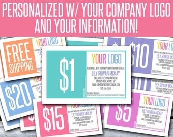 Fashion Retailer Gift Card, Gift Certificate, Coupons - Personalized with your Company Logo and Information! You Print! - LLC03