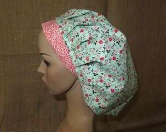 Retro Flowers on Tiffany Blue Contrast Band Bouffant Surgical Scrub Hat