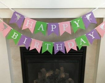 Fairy Birthday Banner, Happy Birthday Banner, Fairy Party, Girl Birthday Banner, Girl Party, Lavender, Pink, Green, Sparkle, Photo Prop