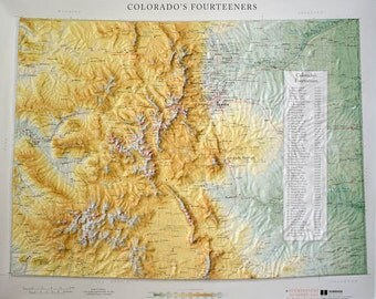 COLORADO 14er Raised Relief Map