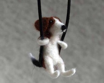 Beagle Felted Necklace,Miniature Beagle,Gift idea for dog owner,Pet portrait.Dog memorial,Wool jewelry, For pet lover,Felted necklace
