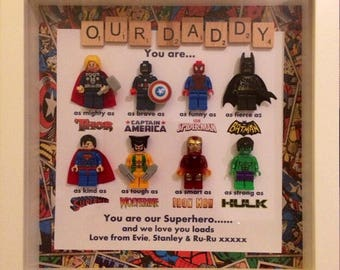 Handmade Personalised Picture Frame Lego Superhero Marvel Avengers Comic Scrabble Grandad Dad Uncle Brother Son Fathers Day Mum