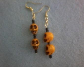 Orange Skull Dangle Earrings