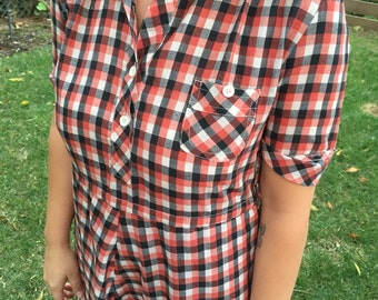 ON SALE 70's handmade gingham sweet checkered dress