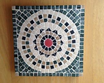 trivet - quality Italian stone mosaic handcrafted by Andamento Mosaics