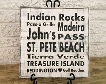 Florida Beach Love, 12x12 Beach Sign, St Pete Beach, Gulf of Mexico, Trasure Island, Fort Myers Beach Art, Nautical, Coastal Decor