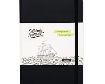 Coloring Notebook: Ruled, Black (5.83 × 8.27)