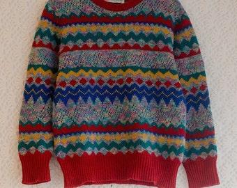 Vintage Italian 1970s Multicoloured Zigzag Stripe Festive Lace Knit Jumper, Small UK size 8-10