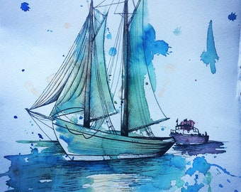 Sailboat watercolor