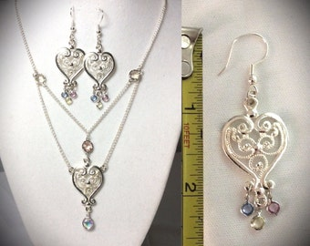 "17"" heart chandalier necklace and earrings"