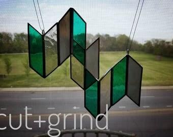 stained glass, geometric, cluster, sun catcher, handmade