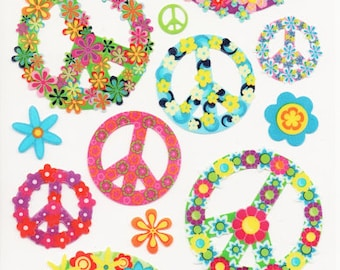 Flower Peace Signs Hippie Sticko  Scrapbook Stickers Embellishments Cardmaking Crafts