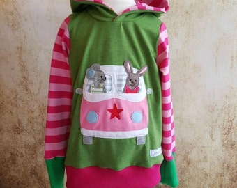 Hooded sweater mouse Hare green pink 56-158