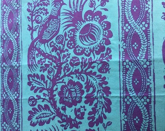 Quilting Fabric Robins Egg Blue and Purple Floral Stripe . 100% premium cotton.  2 yards available.