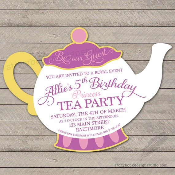 Princess Tea Party Birthday Party Invitation teapot beauty beast
