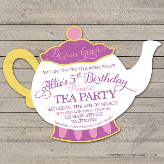 Princess Tea Party Birthday Party Invitation Teapot Beauty Beast