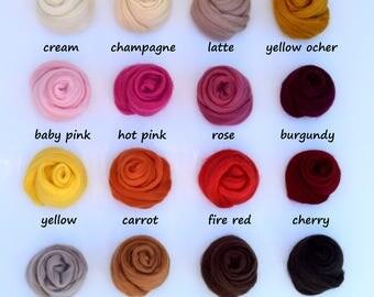 Merino Wool, Felt, Wool Roving, Needle Felting Wool, Top Roving DIY Felting Kit, 32 colors, Felting Supplies, Merino Wool Samples, Wool Yarn