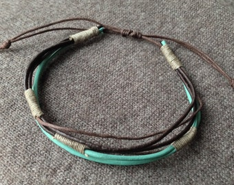 Bracelet turquoise brown leather 6 human towers made hand
