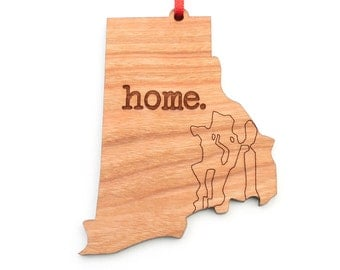 Rhode Island home. Christmas Ornament - RI Rhode Island Ornament - Home Christmas Ornament