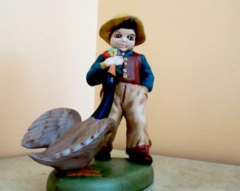 Vintage Handpainted Ceramic Boy and Goose Figurine, Boy with Duck, Boy Figurines, Boy with Animal. Ceramic Farmboy