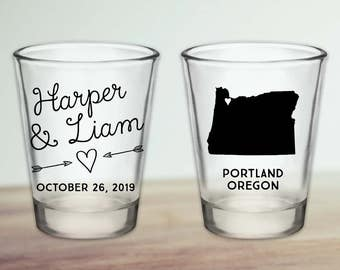 Custom Oregon Wedding Favor Shot Glasses