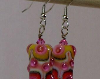 Yellow, hot pink, orange and white dangle earrings