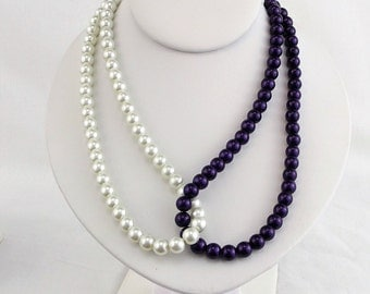 Purple and White beaded looped necklace