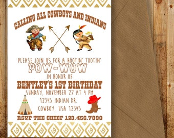 Cowboy and Indian Pow Wow Printable Birthday Party Invitation