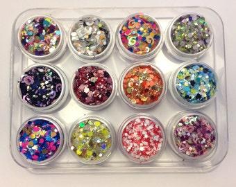 12 Pieces Raw Mix Glitters Jar Set Solvent Resistant Franken Glitter Mixes