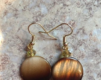 Brown abalone and crystal beaded earrings