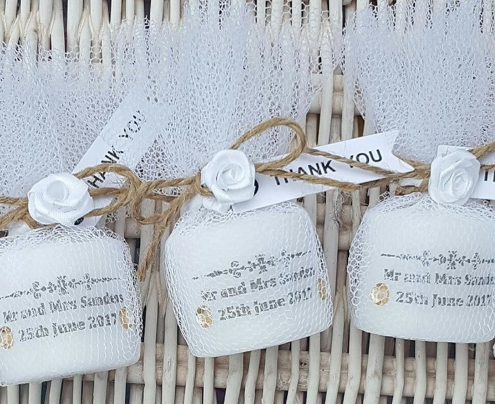 Rustic shabby chic personalised wedding candle favours. Candles in ...