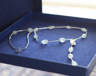 March birthstone aquamarine pendant aquamarine crystal layeredandlong real aquamarine necklace vintage necklace natural gemstone