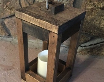 Rustic Lantern, Wood Candle Holder, Wood Lantern, Rustic Home Decor, Housewarming Gift, Wedding Gift